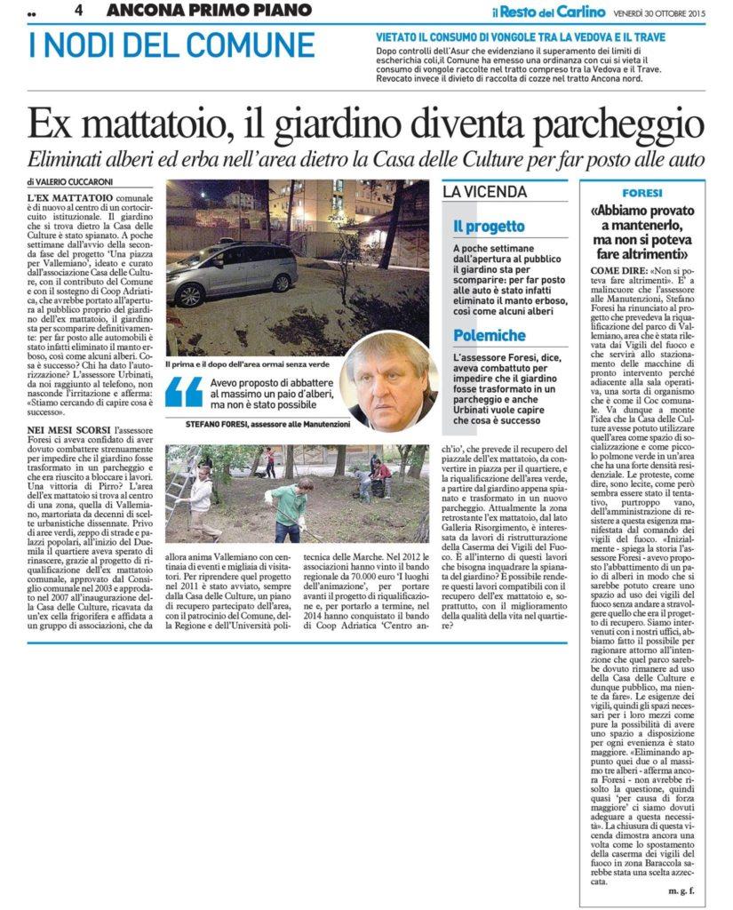 Al Giardino Ancona rassegna stampa vallemiano e ex mattatoio - casa delle culture